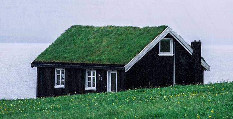 Σπίτι με γρασίδι στην οροφή - Φερόες